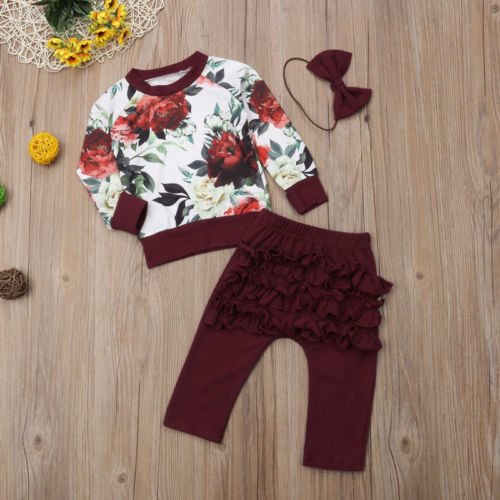 Newborn Baby Girls Clothes Winter Outfits Clothes Flower Tops+Ruffle Pants 3Pcs Set Clothes
