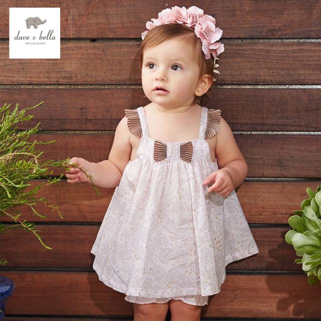 DB3317 dave bella verano de los bebés de rosas de color rosa conjuntos de ropa niño rosado lindo impreso conjunto infantil ropa de niños sets bebé disfraces