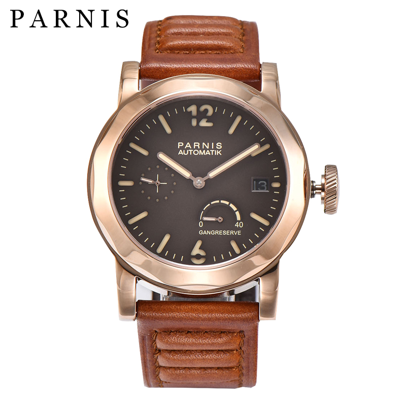Parnis Mechanical Watches Men Automatic 43mm Luxury Watch Gold Case Waterpoof Power Reserve Wristwatch Relogio Masculino 2018Parnis Mechanical Watches Men Automatic 43mm Luxury Watch Gold Case Waterpoof Power Reserve Wristwatch Relogio Masculino 2018