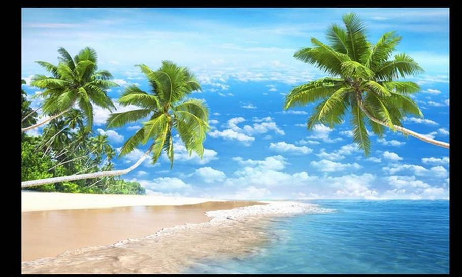 Customize Wallpaper Papel De Parede HD 3d Beautiful Beach Scenery Mural Wall Paper In Wallpapers From Home Improvement On Aliexpress