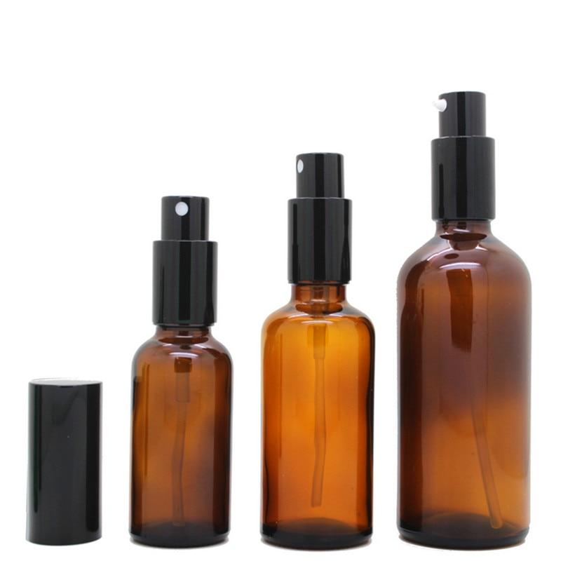 100ml čirý Amber skleněná láhev Essential Oil Vial postřikovač prázdná skleněná parfémová rozprašovač se stříbrným zlatým černým víčkem, které lze znovu naplnit