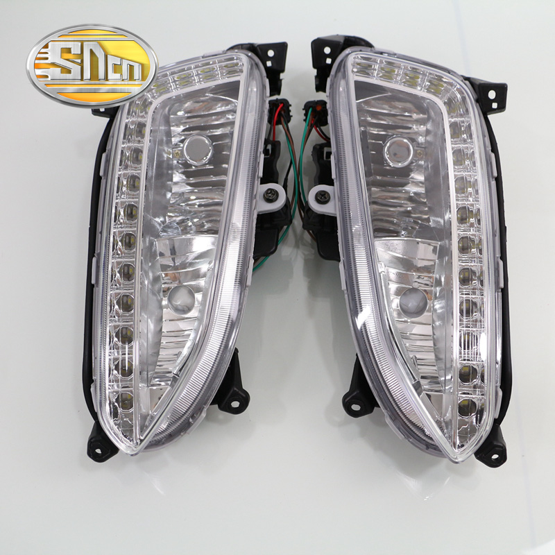 SNCN LED Daytime Running Light For Hyundai Santa Fe IX45 2013 2014 2015,Car Accessories Waterproof 12V DRL Fog Lamp Decoration 2pcs car led drl daytime running light for hyundai ix45 2013 2014 2015 fog light drl fog lamp 12 led 1pair lot