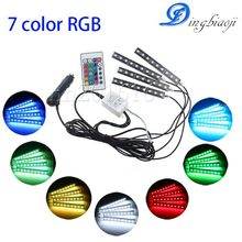 Car RGB LED strip 4 PC 9SMD 5050 10W car interior decorative atmosphere strip auto RGB road floor light remote control 12V(China)