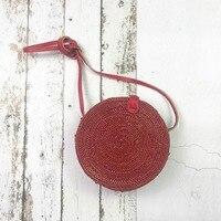 red color rattan bag 2018 New Fashion Round Straw Handbags Women Summer Rattan Bag Handmade Woven Beach Handbag For Women Bag