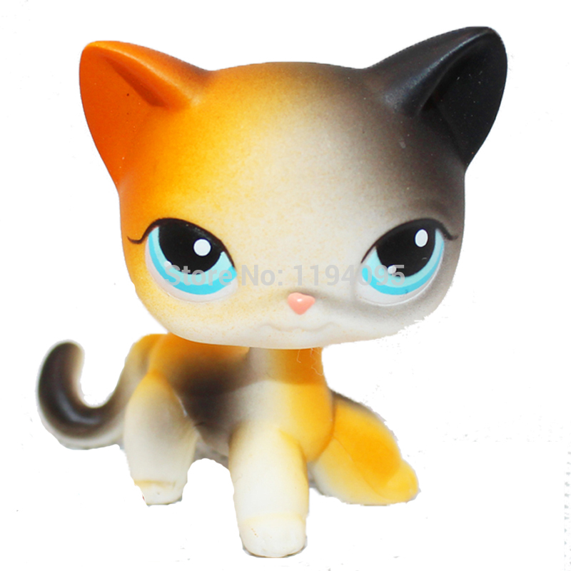 old original pet toys standing #106 mini short hair Orange & Black Calico cat blue eyes lovely pet collection lps figure toy black yellow short hair siamese cat blue eyes nice gift kids