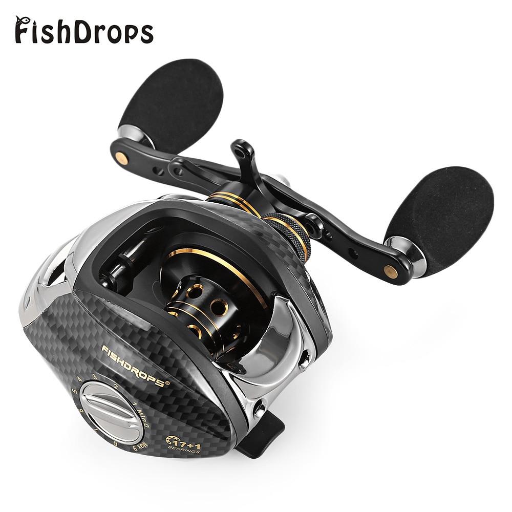 Fishdrops LB200 Baitcasting della Bobina di Pesca 7.0: 1 il Lancio Delle esche Bobine Sinistra Mano Destra Pesca in Un Modo Frizione Bobina di Acqua Salata Oceano