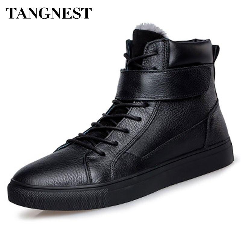 Tangnest/мужские ботинки 2017 зима унисекс ботильоны человек с Мех животных искусственная кожа обувь с высоким берцем для влюбленных туфли
