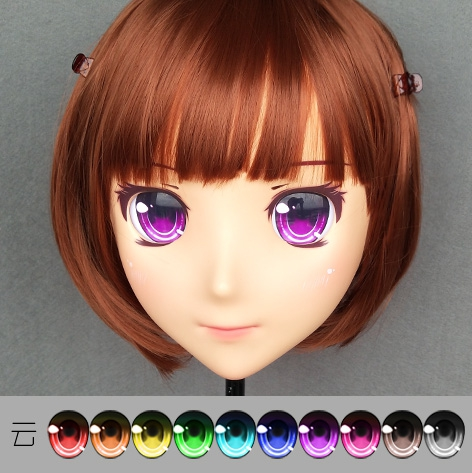 (jiang09)female Sweet Girl Resin Half Head Kigurumi Crossdress Cosplay Japanese Anime Role Lolita Doll Mask With Eyes And Wig