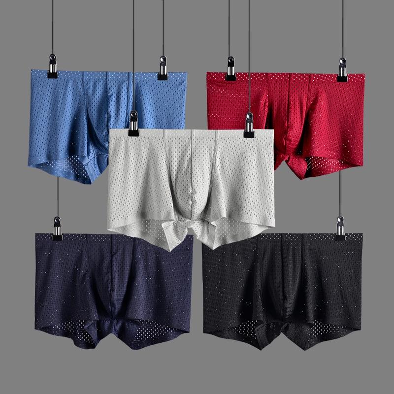 3pcsLot Breathable Mesh Silk Men's Boxer U Pouch Underwear New 2018 Underpants Mens Bodysuit Boxer Shorts