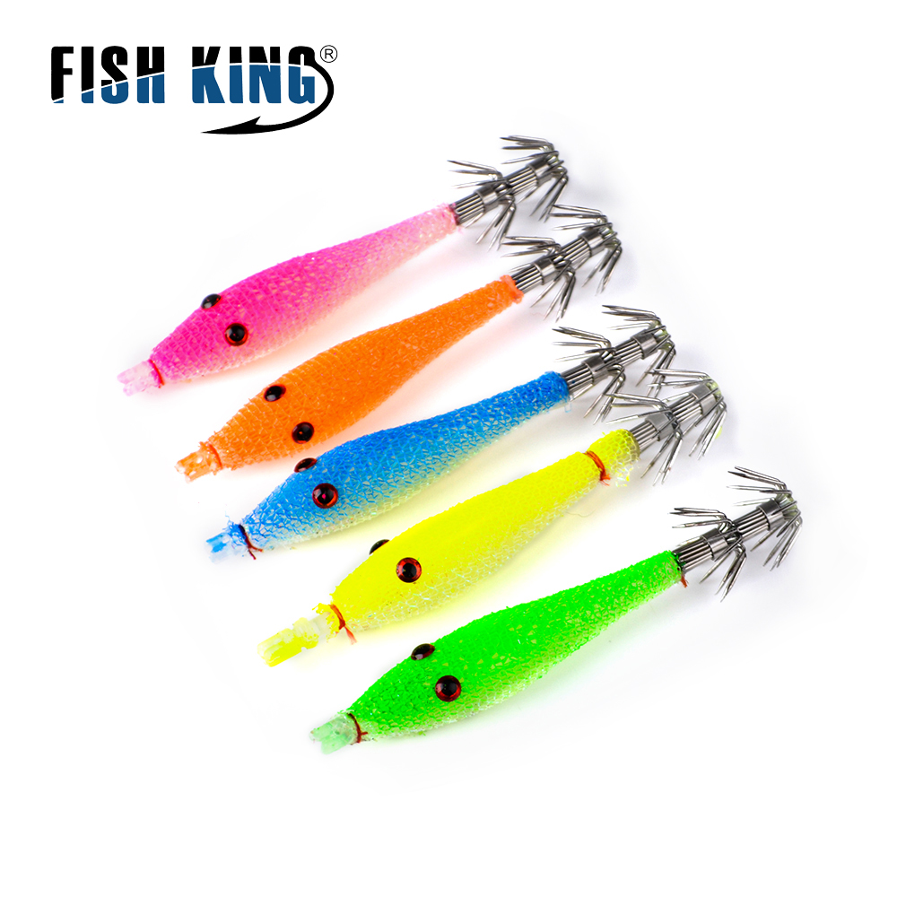 FISH KING 5 Color Squid Hook Soft Bait Fishing Lure Artificial Squid Hook Jigs Octopus Cuttlefish Shrimp Bait Pesca Tackle fish king 5pcs lot 10cm 6g 5 color fishing lure luminous squid octopus hook kunstaas leurre souple peche pesca vissen tackle
