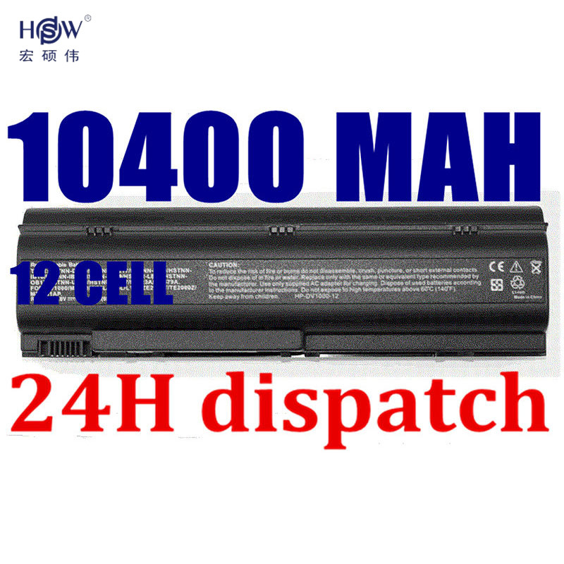 HSW 10400MAH 12cells laptop battery for HP DV1000 DV1100 DV1200 DV1300 DV1500 DV4000 DV5000, 367759-001 PF723A PM579A HSTNN-DB10