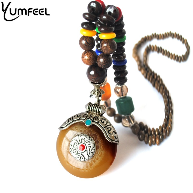 Yumfeel New Ethnic Tibetan Silver Pendant Necklace Handmade Nepal Wood Beaded Necklace Gifts Jewelry hot handmade colourful resin ethnic style collier necklace