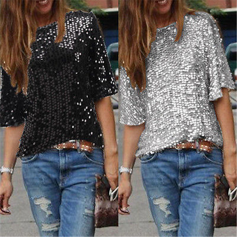 2c9e1a3b677 Detail Feedback Questions about Ladies Off shoulder Sexy Slim Loose Shirt  Top Glistening Sequin T shirt Tshirts Tees Boutique on Aliexpress.com