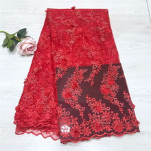100% Polyester Red African Lace Fabric, 3D Flower Applique for Wedding, Bridal Dress Tulle Fabric With Beaded