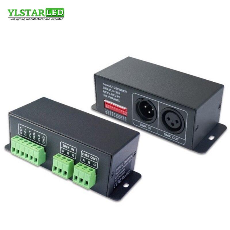 купить YLSTAR DC5-24V Drive IC LPD6803 HL1903 WS2811 WS2801 TM1809 SPI Pixel led strip Module Full Color Led Controller DMX512 DECODER онлайн