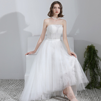 Simple Wedding Dress 2019 Strapless Bridal Gown Charming High Low Hem Formal Dress Lace Bridal Dress Vestido De Noiva