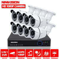 Full HD 1080 P 3000TVL системы видеонаблюдения 8CH 1080 P AHD DVR комплект 8*2 Мп наружного видеонаблюдения комплект камеры безопасности WI FI DVR