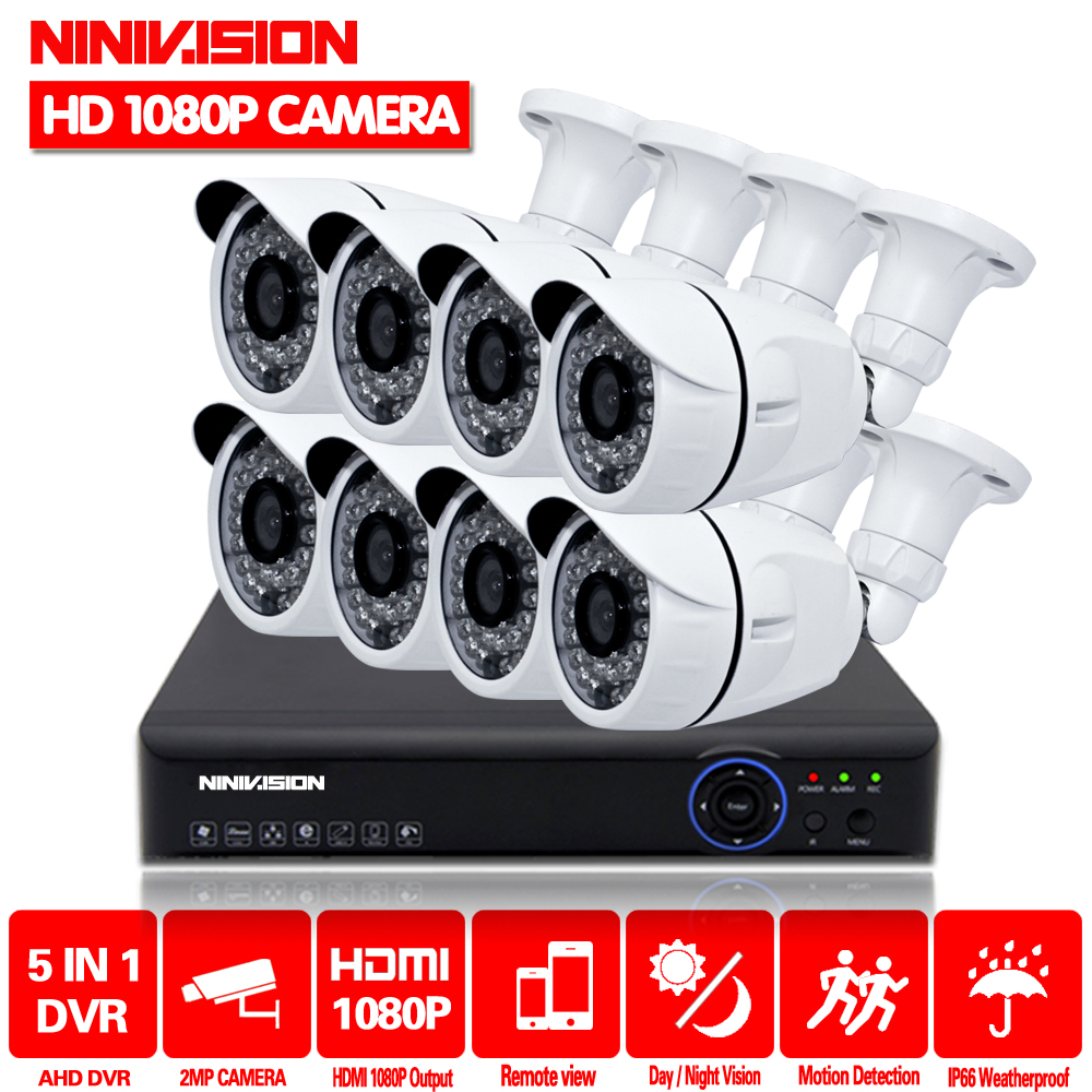 где купить Full HD 1080P 3000TVL CCTV security system 8CH 1080P AHD DVR kit 8*2mp Outdoor video surveillance security camera kit WIFI DVR по лучшей цене