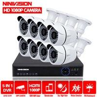 Full HD 1080P 3000TVL CCTV security system 8CH 1080P AHD DVR kit 8*2mp Outdoor video surveillance security camera kit WIFI DVR