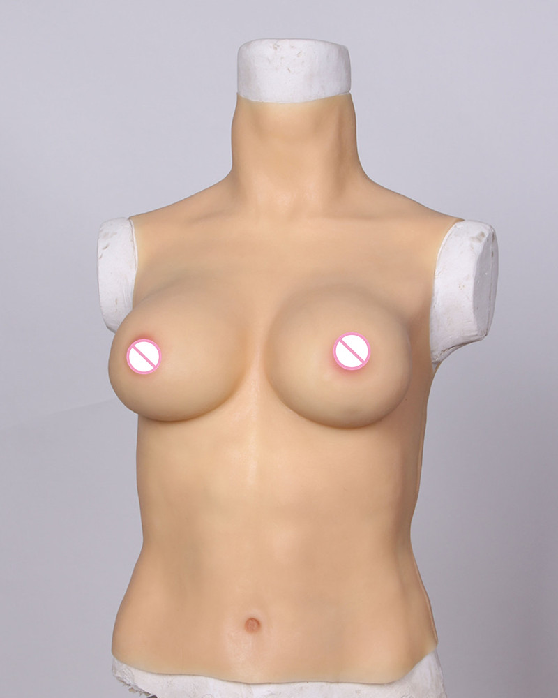 D Cup Latex Fake Breasts Realistic Artificial Silicone Breast Form For Crossdress Sissy Boy Eonism Cosplay Siamese Transvestism silicone masks female with breast beauty woman latex mask crossdress female crossdresser d cup