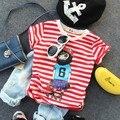 Новые 2016 летние мальчики мультфильм полосатый с коротким рукавом футболка дети летняя мода майка мальчиков повседневная одежда