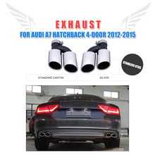 Statinless Steel Auto Car Rear Bumper Exhaust Tips Muffler Pipe for Audi A7 Standard Hatchback 4-Door 2012-2015 2PCS/Set