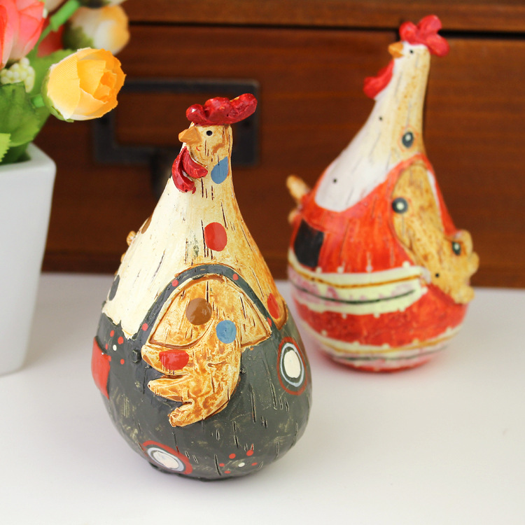 European Style Wedding Gifts Resin Chicken Couples 2 Pcs Lot Animal Figures Cabochon Home Decoration Crafts in Figurines Miniatures from Home Garden