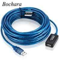 Bochara USB 2.0 rallonge USB 2.0 Type A mâle à femelle double blindage (feuille + tressé) puces Booster actives 5m 10m