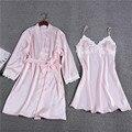 Encaje de la moda 2017 Nuevas Mujeres del Diseño Camisón + Bata de Dos piezas Conjunto de Lujo Sexy Mujer ropa de Dormir de Seda Dormir y Descansar satén