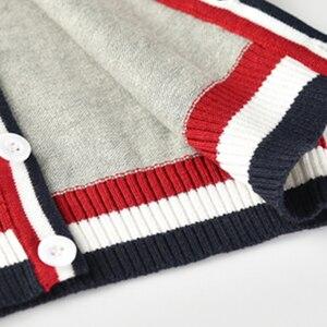 Image 5 - Vinnytido suéter de Navidad para niños, suéteres de un solo pecho con cuello en V, cárdigan de punto a rayas