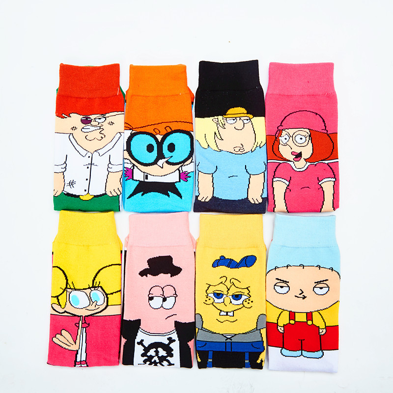 Funny Cute Happy   Socks   Womens Men Colour Cartoon cotton   Socks   with print casual harajuku designer art fashion   socks   summer