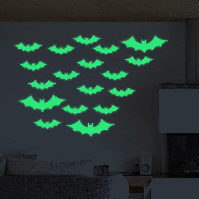 13pcs Green Glowing In The Dark Bat Wall Gl Sticker April Fool S Day Decoration