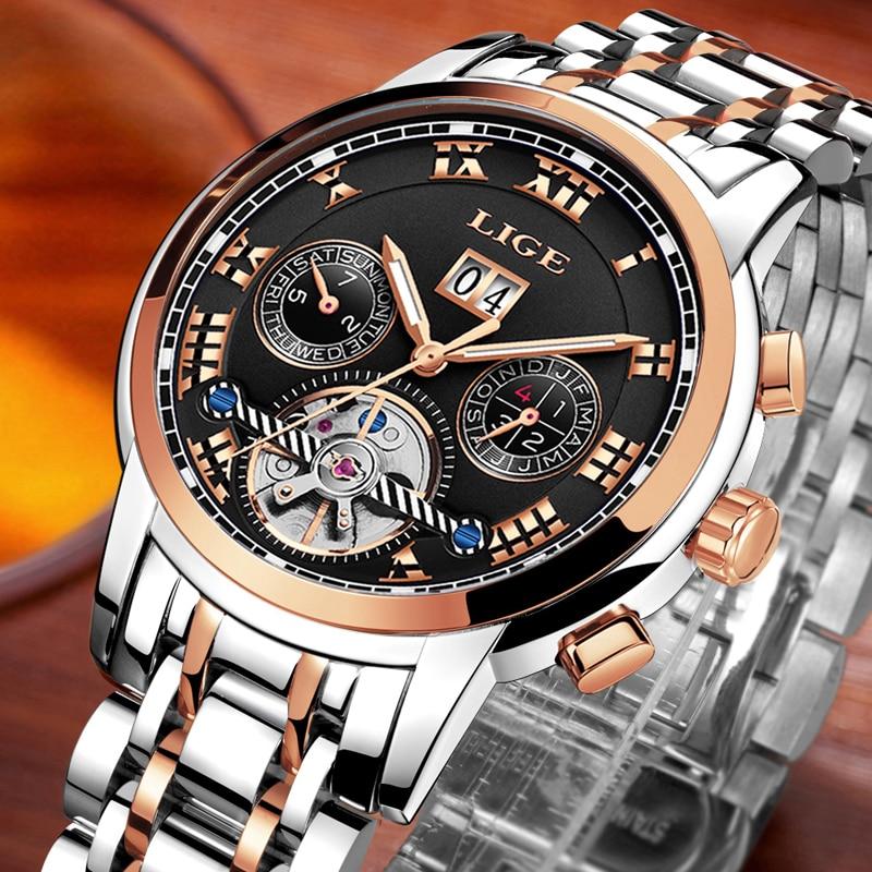 Herenhorloge Merk LIGE Herenhorloge Mechanisch horloge Waterbestendig - Herenhorloges - Foto 3
