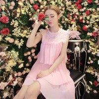Korean version small fresh summer Lace stitching chiffon dress Japanese descent Lolita Palace pink white color sweet girl dress