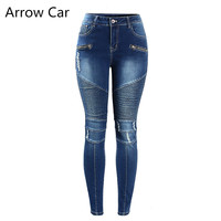 Arrow Car Jeans Women Motorcycle Biker Zip Mid High Waist Stretch Denim Skinny Pants Motor Jeans For Women Plus Size 3XL
