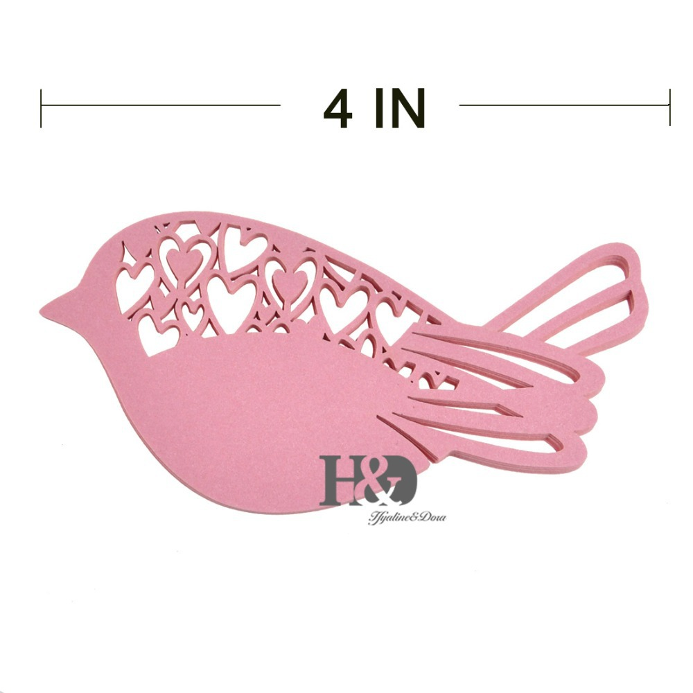 120PC/lot Pink Laser Cut Bird Wedding Table Place Paper Card ...
