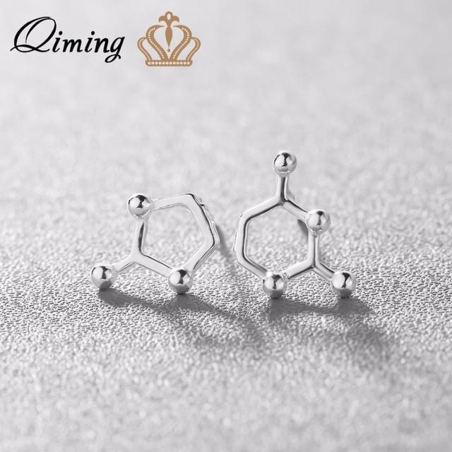 4fb35df949da Estructura de la Molécula QIMING Nueva Moda 925 Joyas de Plata Aretes para  Las Mujeres Lindo