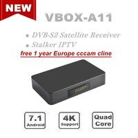 AzAmerica receptor Satellite TV Receiver 4k DVB S2 H265 stalker iptv cccam cline for 1 year Spain Europe Android Smart TV Box