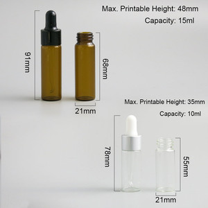 Image 2 - 50 x Travel Emptpy 10ml 15ml Glass Essential Oil Dropper Bottle 1/3oz Drop Liquid Pipette jars 1/2oz Amber Cosmetic Packaging