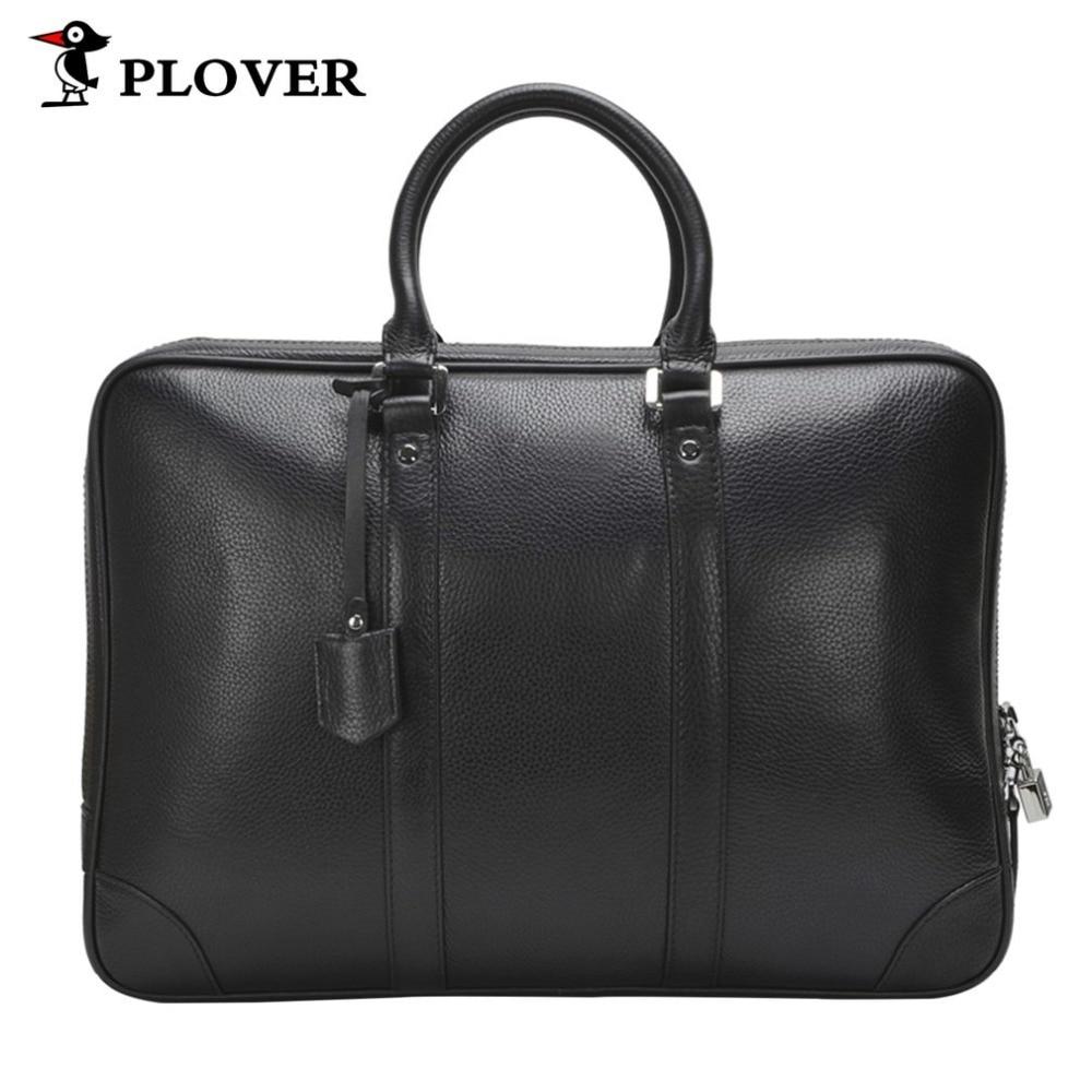 все цены на PLOVER Fashion Business Men High-capacity Handbag zipper Bag Genuine Cow Leather Casual Portable Briefcase With Lock Anti-theft онлайн