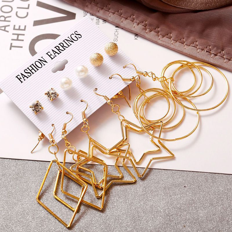 6 Pair lot Retro Engraved Gold Big Circle Multi Element Earrings Set For Female Girls Large Steel Brincos Jewelry Fashion Gifts in Drop Earrings from Jewelry Accessories