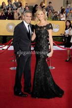 free shipping 2013 maxi 66th Annual Cannes Film Festival Stacy Keibler Off the shoulder Beautiful black Lace Celebrity Dresses