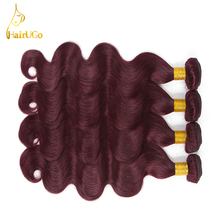 HairUGo Hair Pre-colored Peruvian Hair Body Wave Burgundy 99J  Color Human Hair Weave Bundles Body Wave Hair Extension