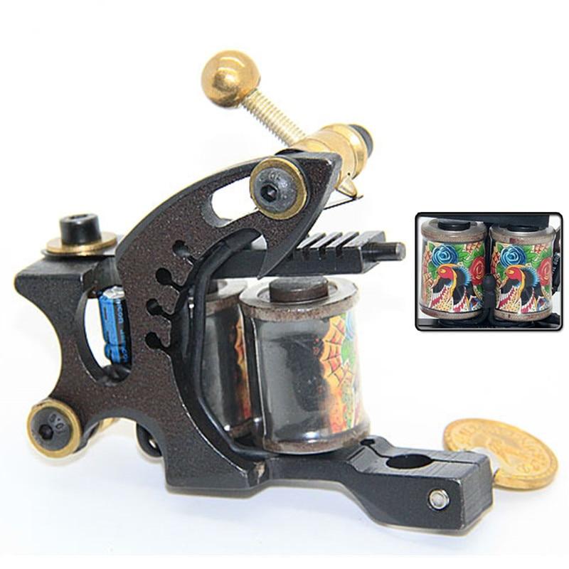 Top Pro Handmade Cast Iron Tattoo Machine Gun 10 Wrap Coils Set Shader For Tattoo Supply -- CTM-2237S cast iron alloy dragonfly tattoo machine gun yellow