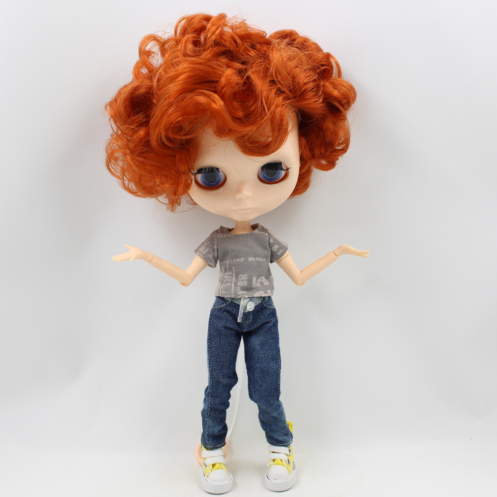 ICY Nude Blyth doll Male doll Series No.90BL1207 Tangerine curly hair Male Joint body Suitable for change BJD Factory Blyth-in Dolls from Toys & Hobbies    1