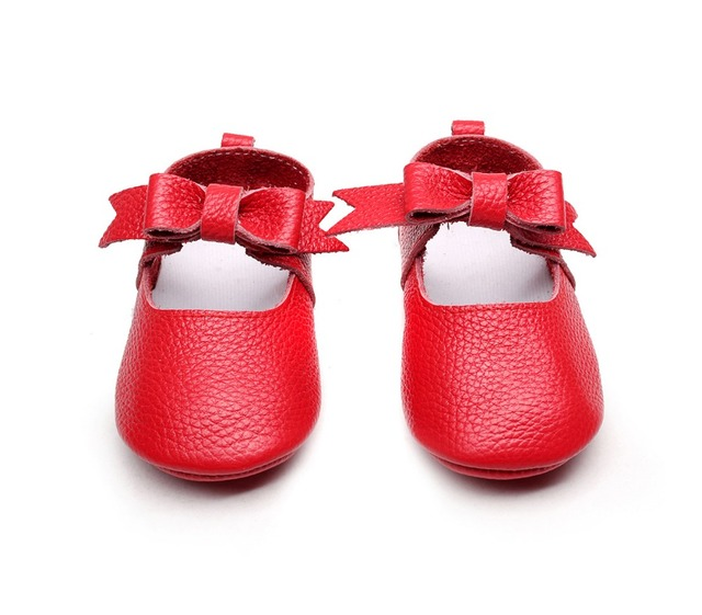 50 пар/лот Моды Натуральная Кожа Лук Мэри Джейн Новорожденного Мальчика Девушки обувь Prewalkers Детские Впервые Ходунки детские малыш обувь