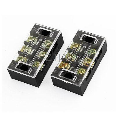 2 Pcs 25A 3 P Screw Connector Electric Barrier Terminal Block Cable Wire Board 5 pcs 600v 25a dual rows 10p covered barrier screw terminal block free shipping
