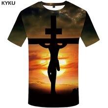KYKU Jesus T Shirt Men Character Tshirt Moon 3d Print T-shirt Hip-hop Tee Cool Mens Clothing 2018 New Summer Casual Hipster Tops