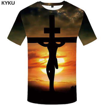 KYKU Jesus T Shirt Men Character Tshirt Moon 3d Print T-shirt Hip-hop Tee Cool Mens Clothing 2018 New Summer Casual Hipster Tops kyku indians tshirt men white feather t shirt hip hop anime clothes character 3d print t shirt punk rock mens clothing summer