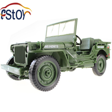 Alloy diecast Army Jeep Model 1:18 Miniature military off-road vehicle Collection gift Toy